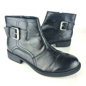 Kenneth Cole Black Vegan Leather Moto Boots